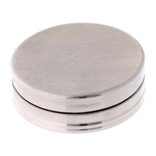 Caja para rosario de plata 925 redonda incisiones 3