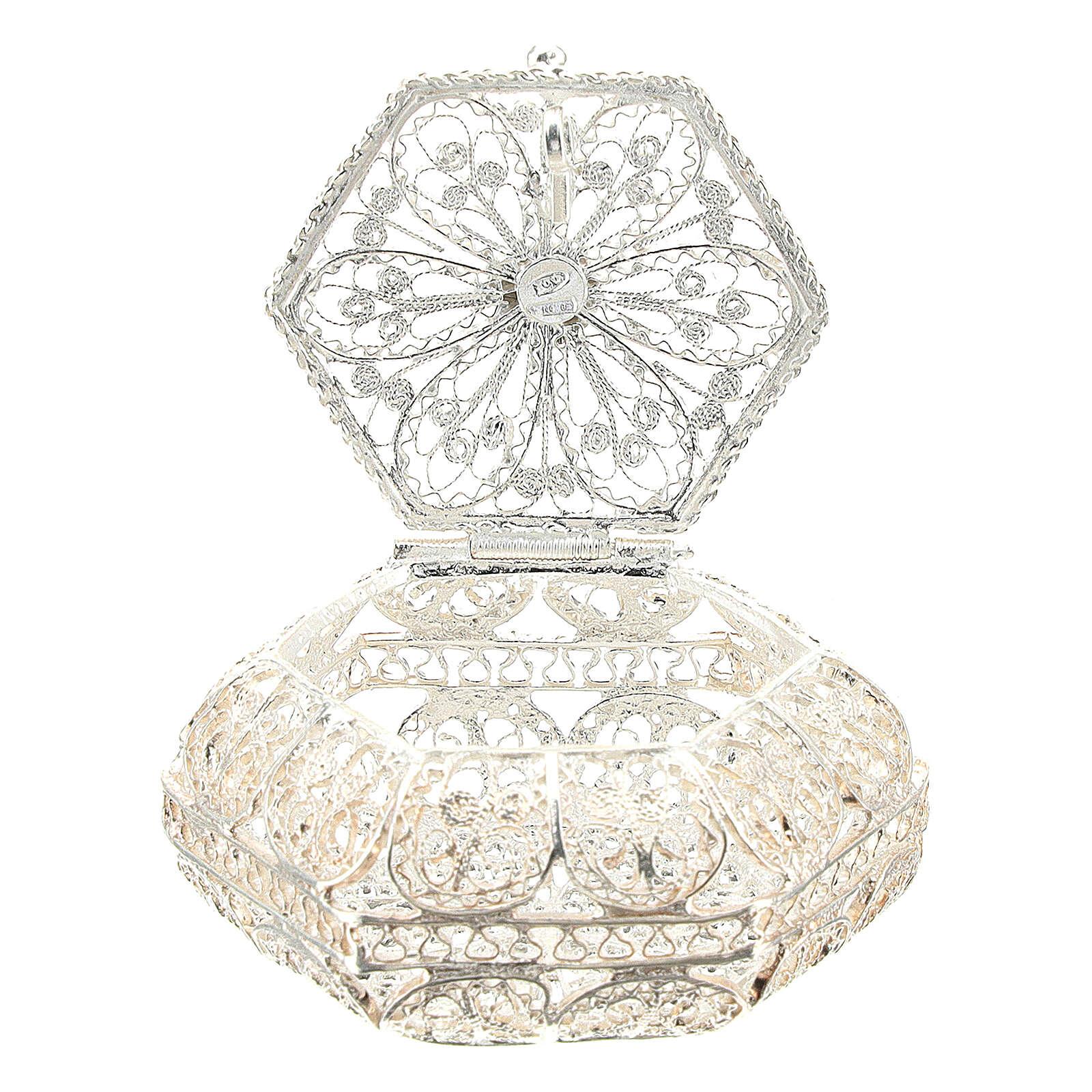 Caja para rosario hexagonal filigrana plata 800 4