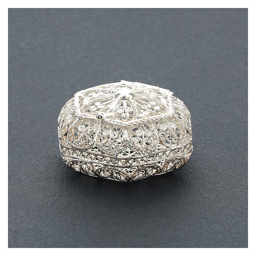 Caja para rosario hexagonal filigrana plata 800 2