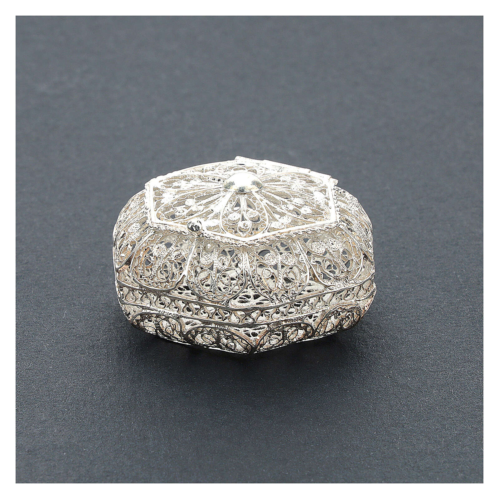 Portarosario esagonale filigrana argento 800 4