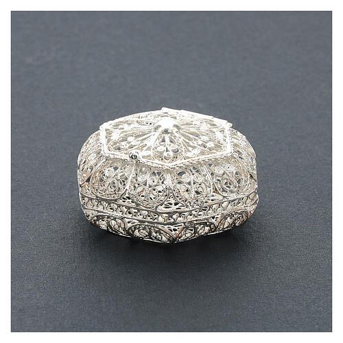 Portarosario esagonale filigrana argento 800 2