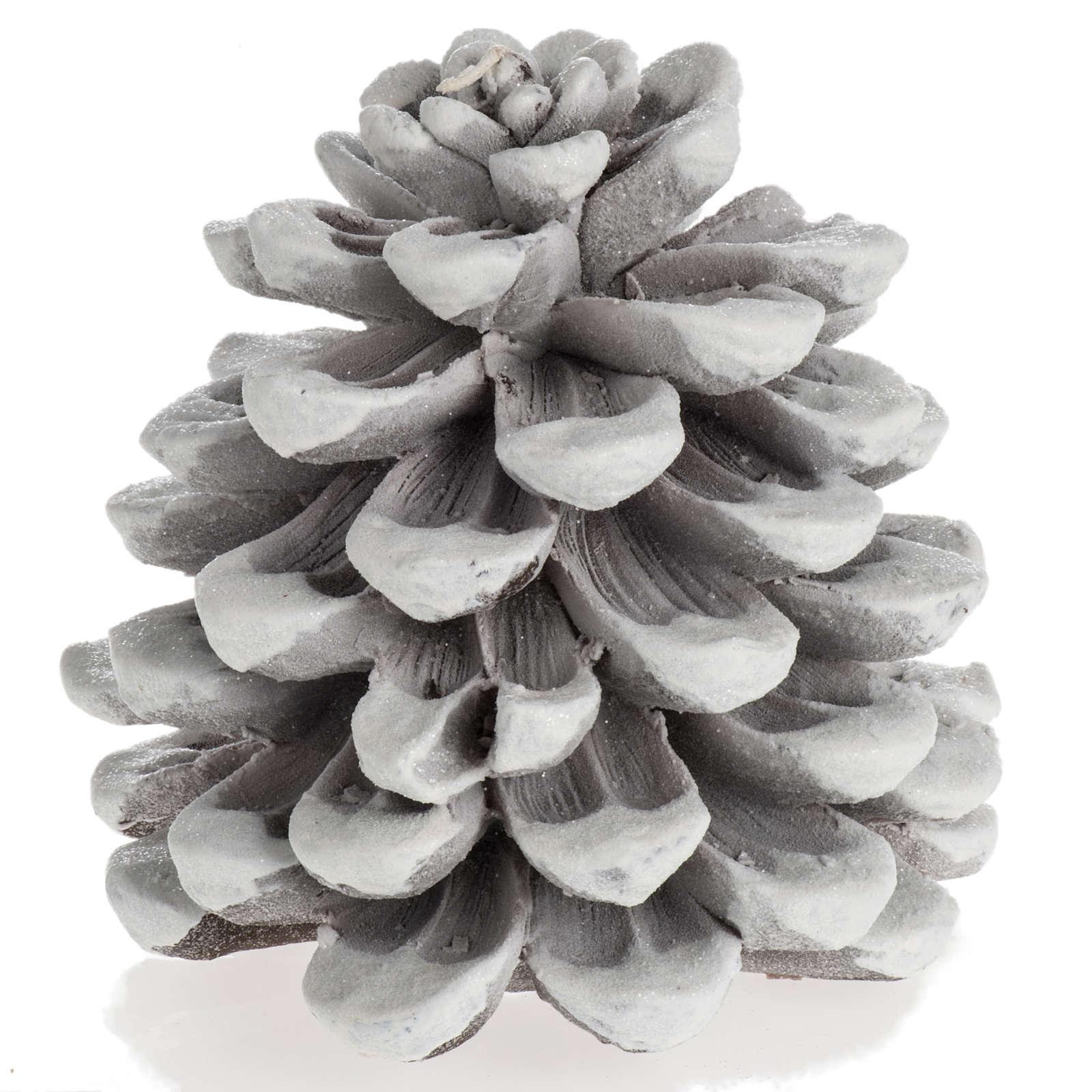 Candela natalizia pigna bianca 3