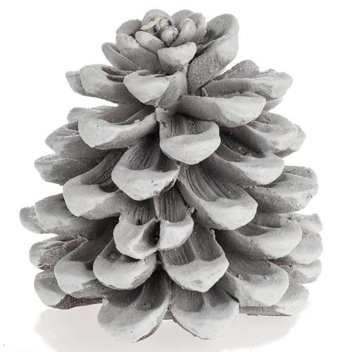 Candela natalizia pigna bianca 1