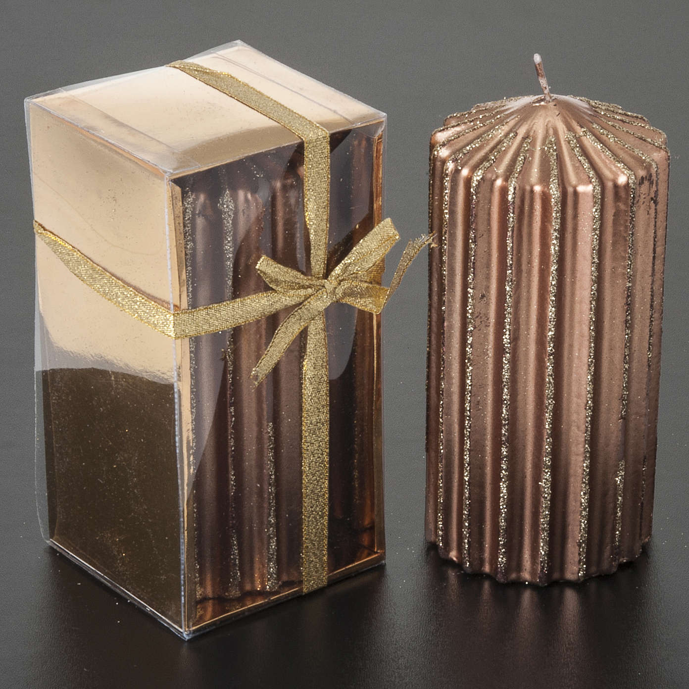 Bougie de Noël rayée couleur bronze 3