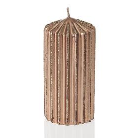 Bougie de Noël rayée couleur bronze s1
