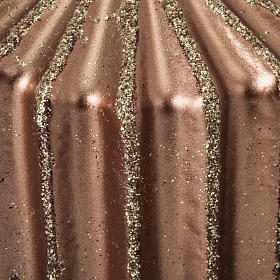 Bougie de Noël rayée couleur bronze s3