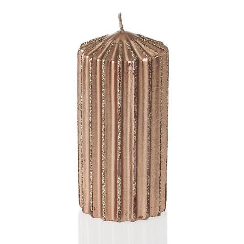 Bougie de Noël rayée couleur bronze 1