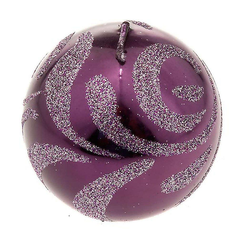 Candela di Natale sfera viola 3