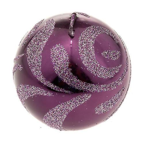 Candela di Natale sfera viola 1