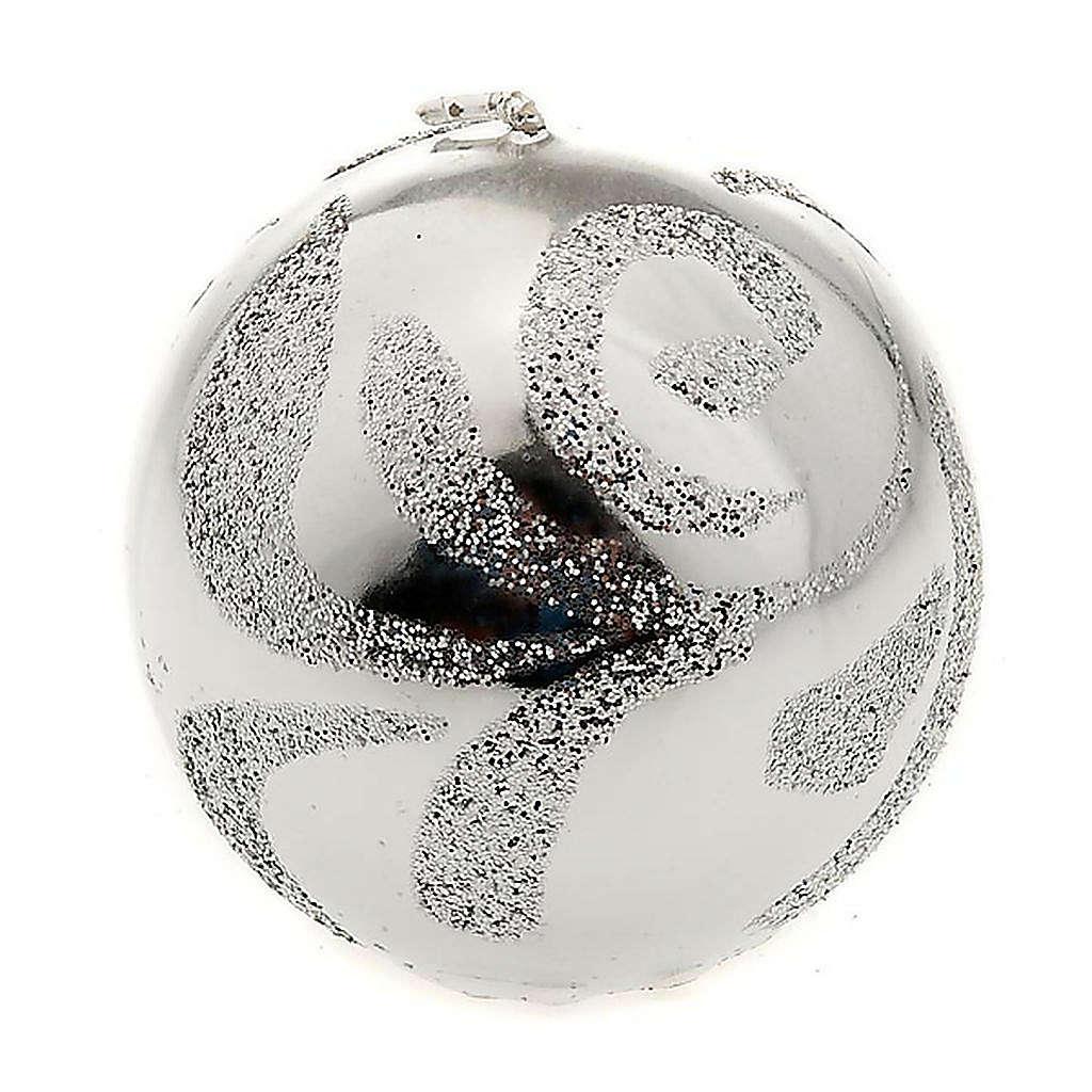 Candela di Natale sfera argento 3