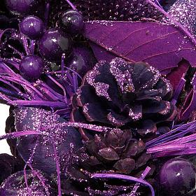 Corona natalizia pigne e bacche viola addobbo Natale s2