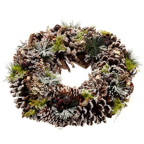 Corona natalizia pigne e neve addobbo natalizio 1