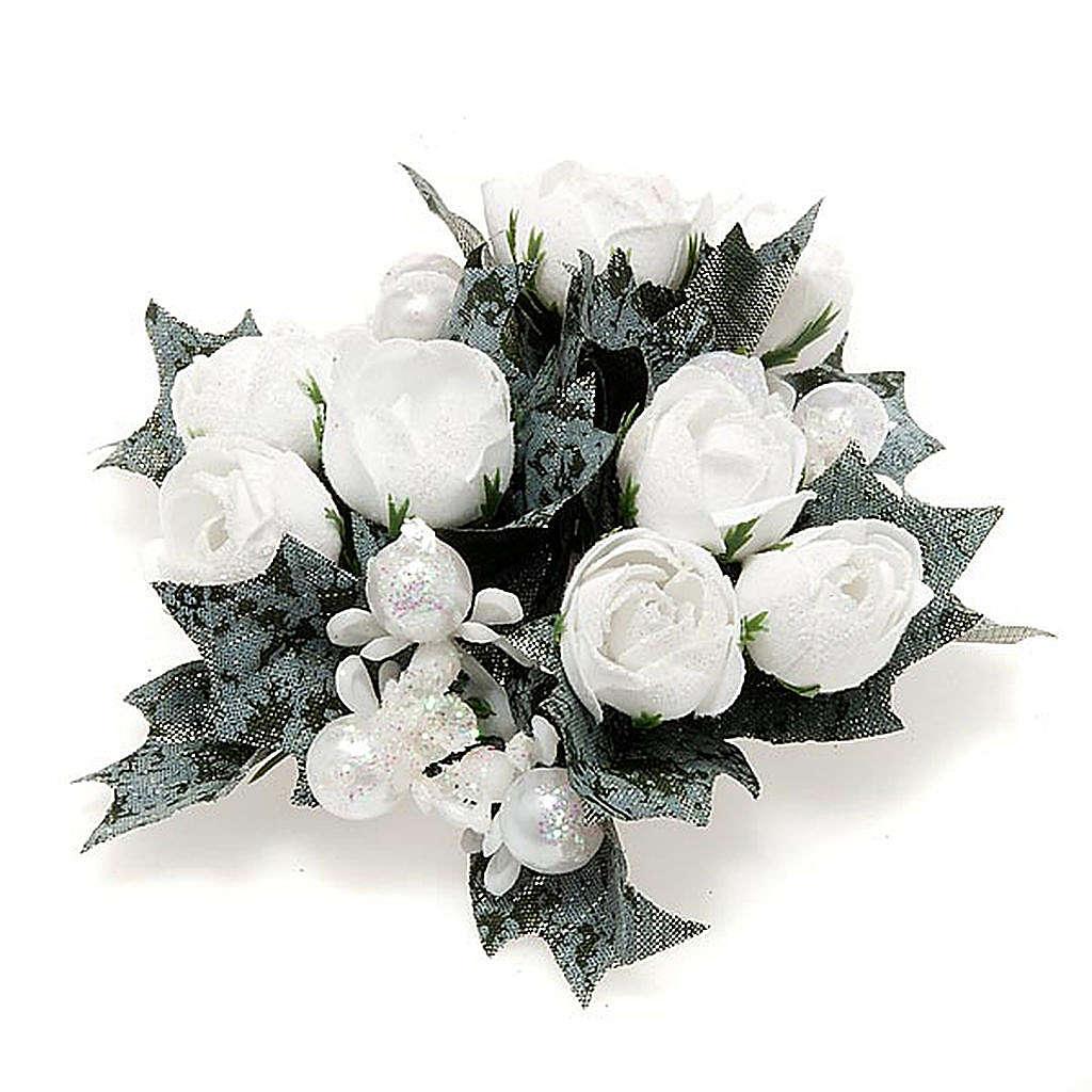 Girocandela con roselline bianche e perline 3