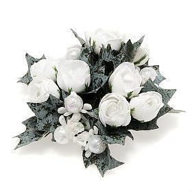 Girocandela con roselline bianche e perline s1