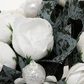 Girocandela con roselline bianche e perline s2