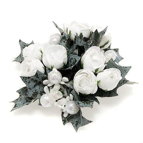 Girocandela con roselline bianche e perline 1