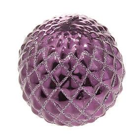 Candela di Natale a sfera viola s1