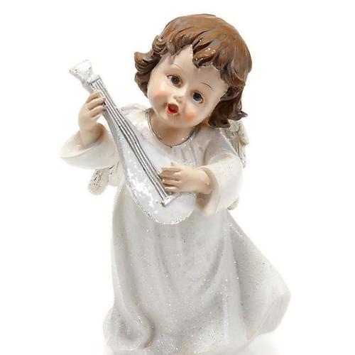 Angelo bianco con mandolino cm 14 addobbi Natale 1