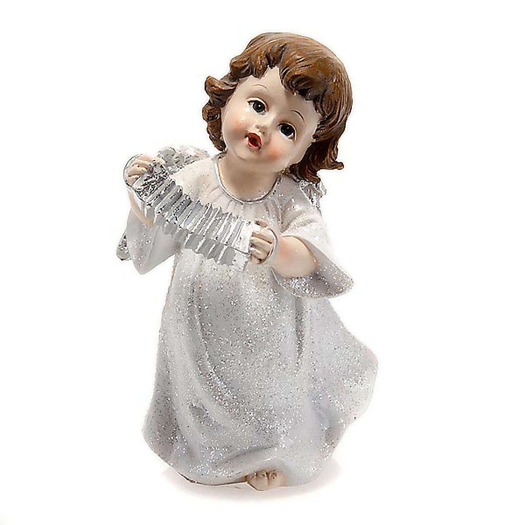 Angelo bianco con fisarmonica cm 14 addobbo Natale 3