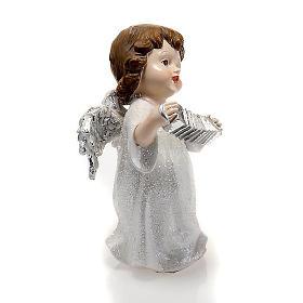 Angelo bianco con fisarmonica cm 14 addobbo Natale s2
