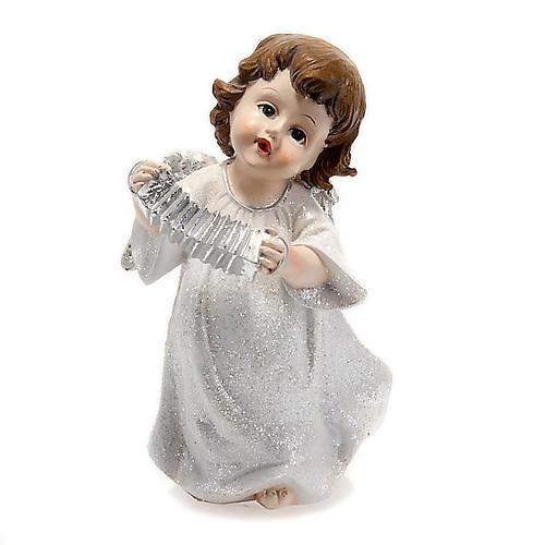 Angelo bianco con fisarmonica cm 14 addobbo Natale 1