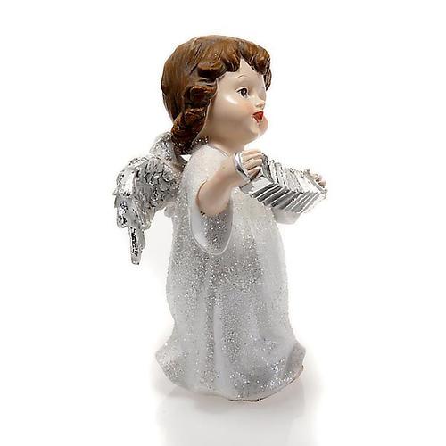 Angelo bianco con fisarmonica cm 14 addobbo Natale 2