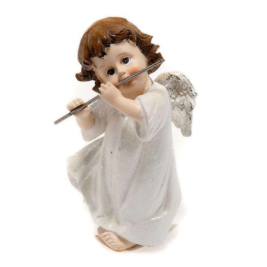 Angelo bianco con flauto traverso cm 14 addobbo Natale 3