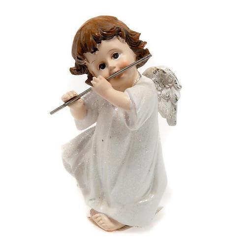 Angelo bianco con flauto traverso cm 14 addobbo Natale 1