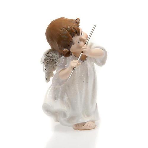 Angelo bianco con flauto traverso cm 14 addobbo Natale 2