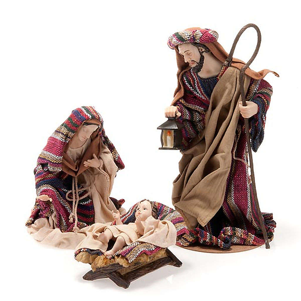 Nativity set coloured mantle, resin 33cm 4