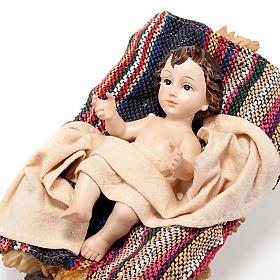 Nativité manteau multi couleur résine 33 cm s4