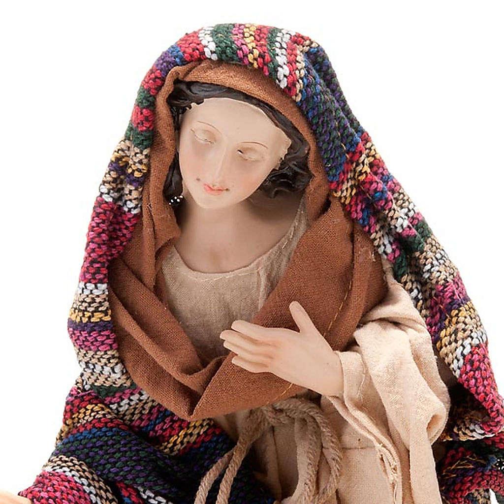 Nativity set coloured mantle, resin 33cm 4