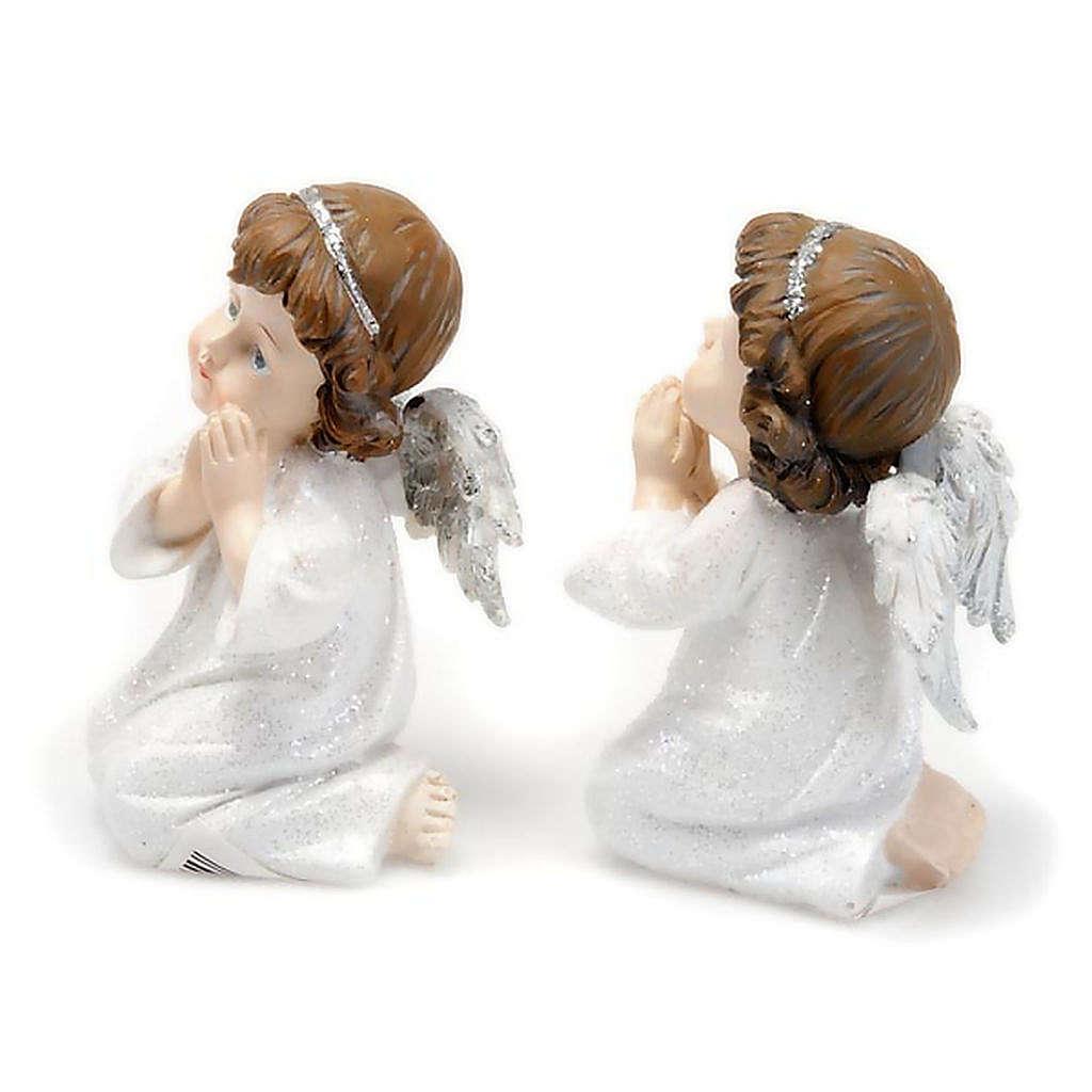 Angioletto in preghiera bianco argentato con glitter 3