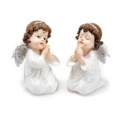Angioletto in preghiera bianco argentato con glitter 1