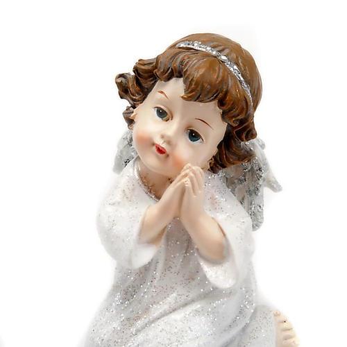 Angioletto in preghiera bianco argentato con glitter 4