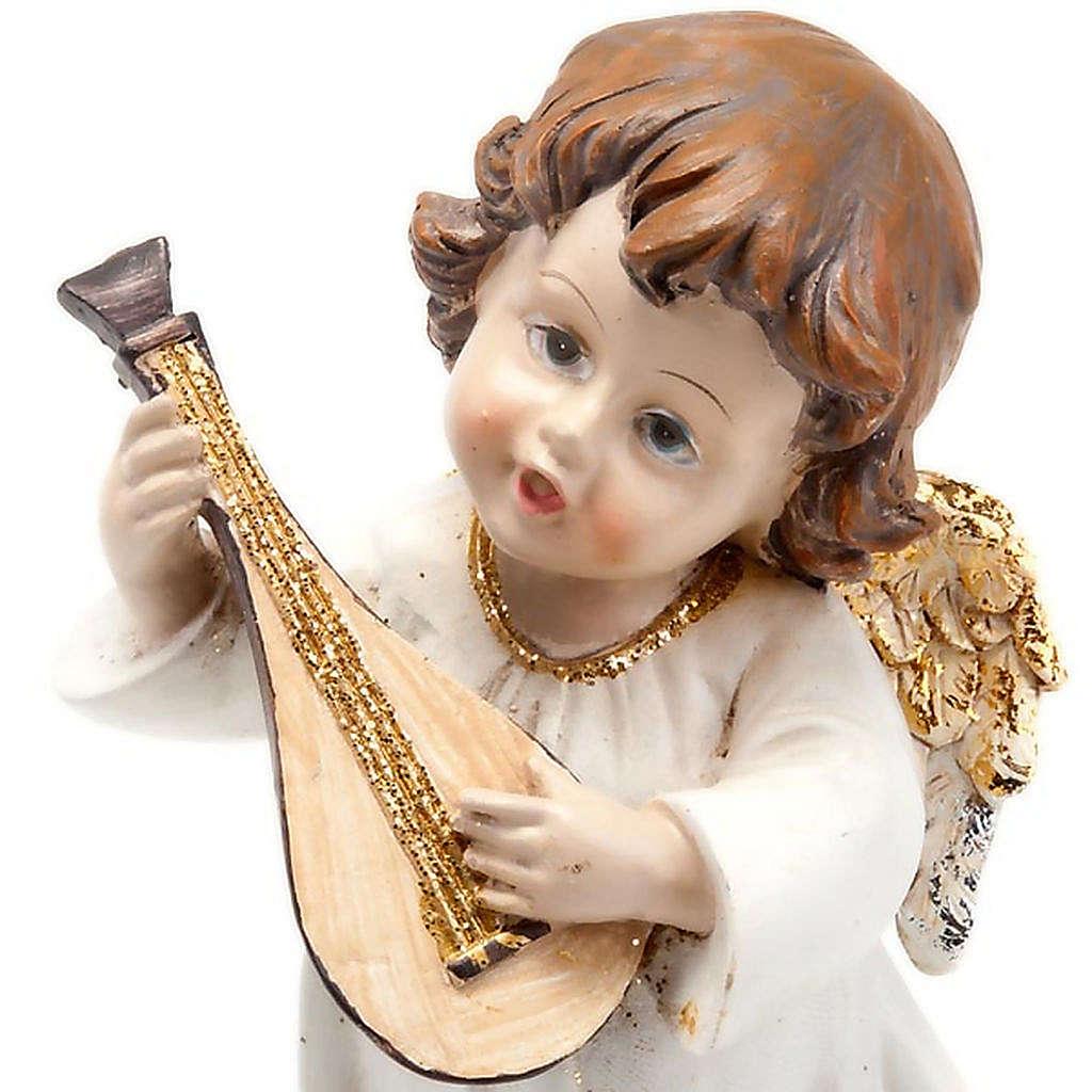 Angioletto bianco oro con mandolino decoro Natale 3
