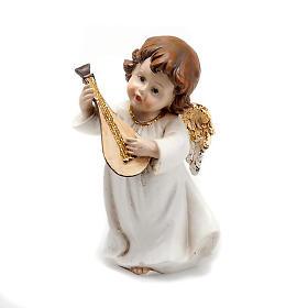 Angioletto bianco oro con mandolino decoro Natale s1