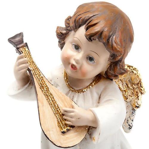 Angioletto bianco oro con mandolino decoro Natale 2