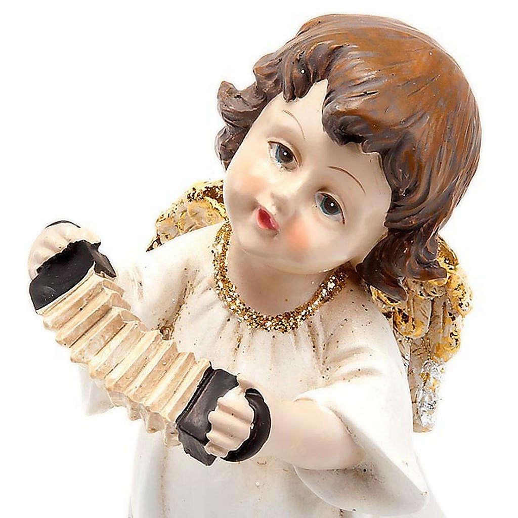 Angioletto bianco oro con fisarmonica decoro Natale 3