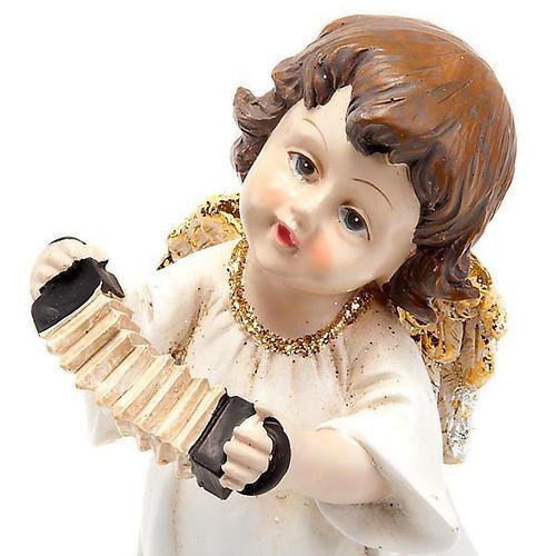 Angioletto bianco oro con fisarmonica decoro Natale 1