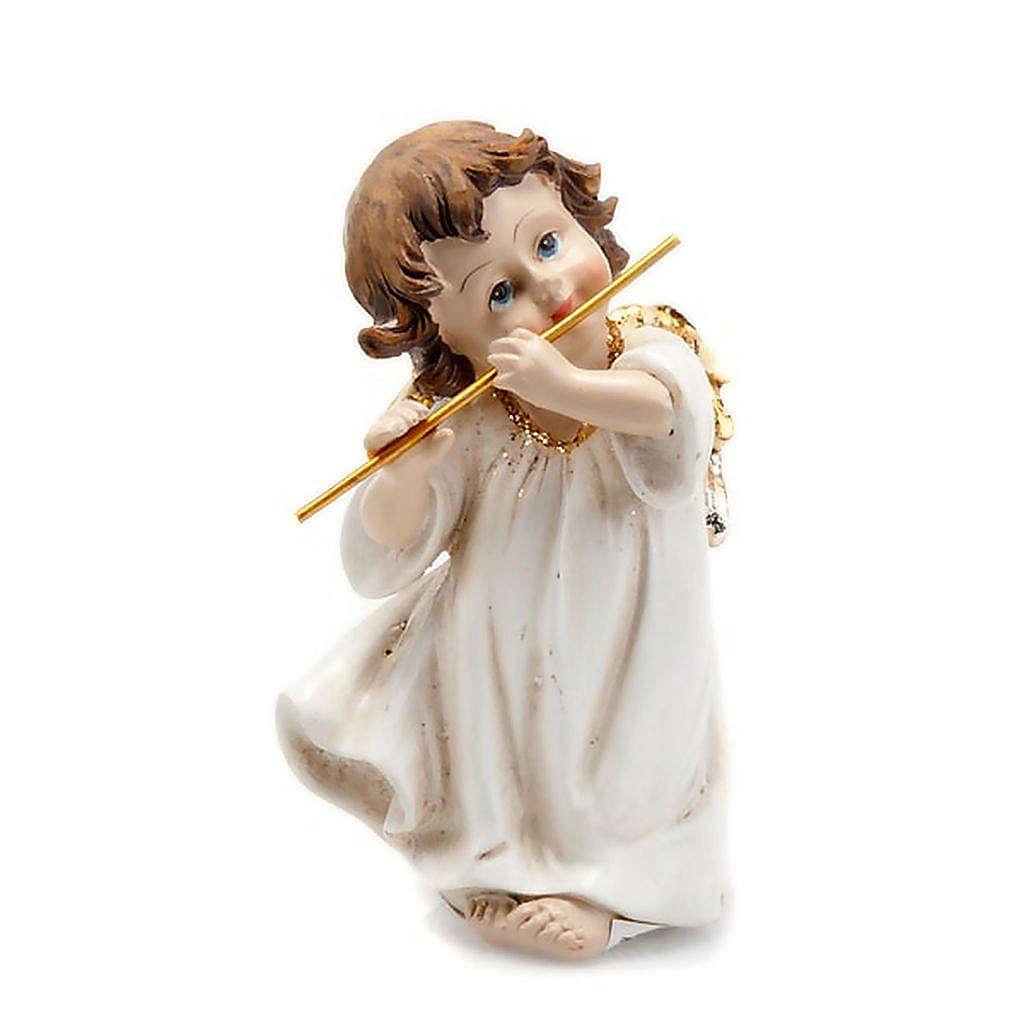 Angioletto bianco oro con flauto traverso decoro Natale 3