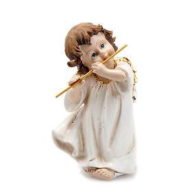 Angioletto bianco oro con flauto traverso decoro Natale s1
