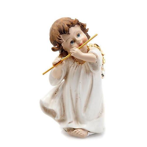 Angioletto bianco oro con flauto traverso decoro Natale 1