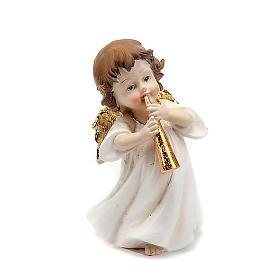 Angioletto bianco oro con tromba decoro Natale s1