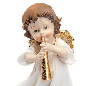 Angioletto bianco oro con tromba decoro Natale s2