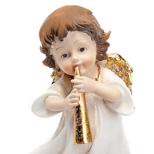 Angioletto bianco oro con tromba decoro Natale 2