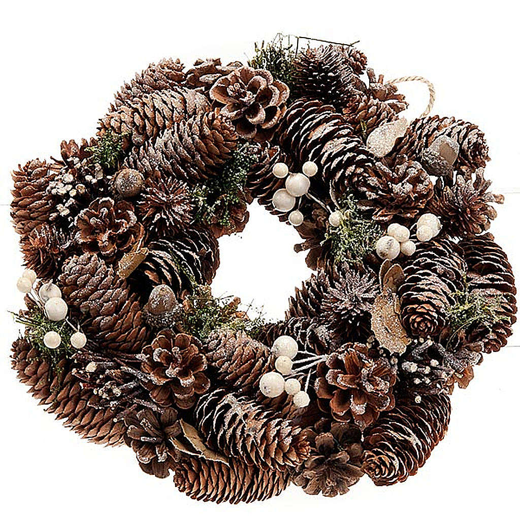 Ghirlanda di Natale naturale pigne e vischio 3