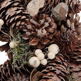 Ghirlanda di Natale naturale pigne e vischio s2