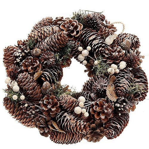 Ghirlanda di Natale naturale pigne e vischio 1