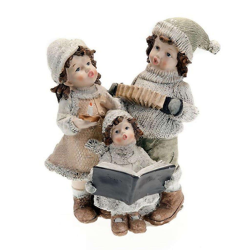 Statuetta trio bambini cantori addobbi natalizi 3